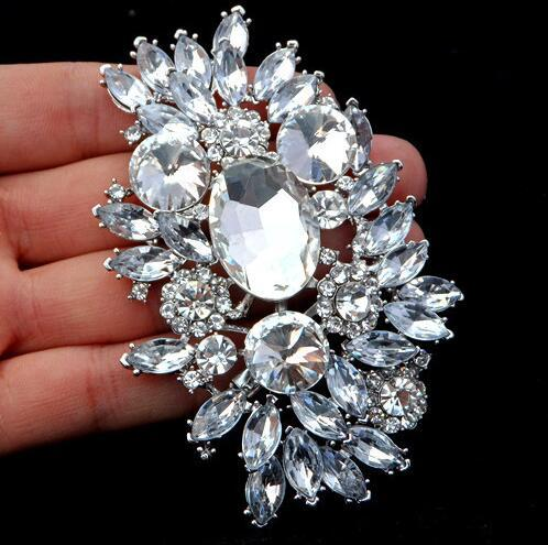 2019 new Fashion 3.6 Inch Large Top Quality Flower Brooch Silver Tone Luxury Huge Crystal Rhinestone Wedding Bouquet Brooches