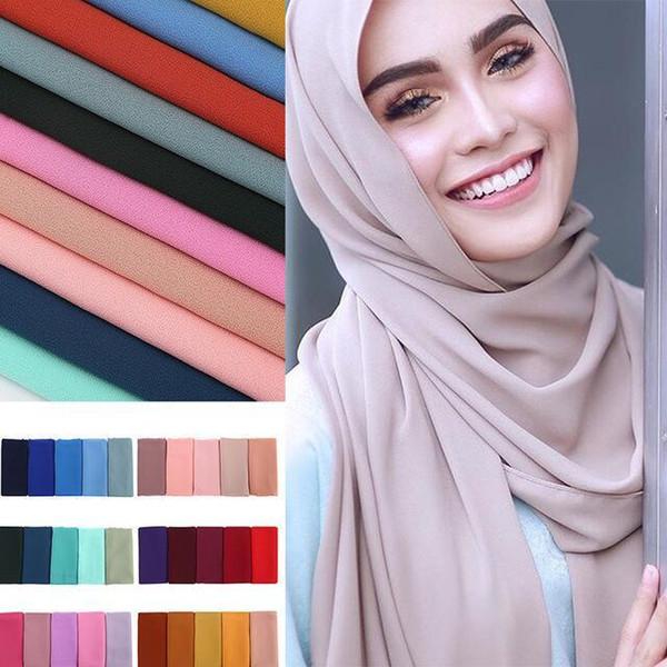 Chaude Monochrome Classique Ethnique Stretch En Mousseline De Soie Perle Bulle Serviette Écharpe Turban Haute Qualité Femmes Musulmanes Hijab Écharpe