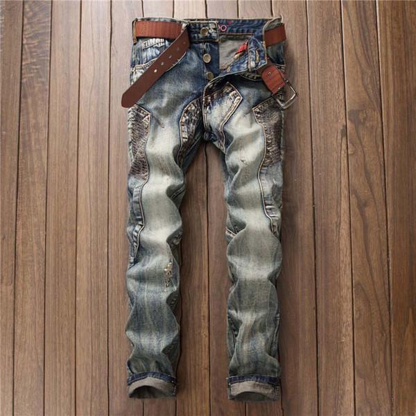 Mens Jeans 2019 Nueva llegada Moda Casual Remiendo Retro Agujero distraído Lavado de hombres Jean Mezcla de algodón al por mayor.
