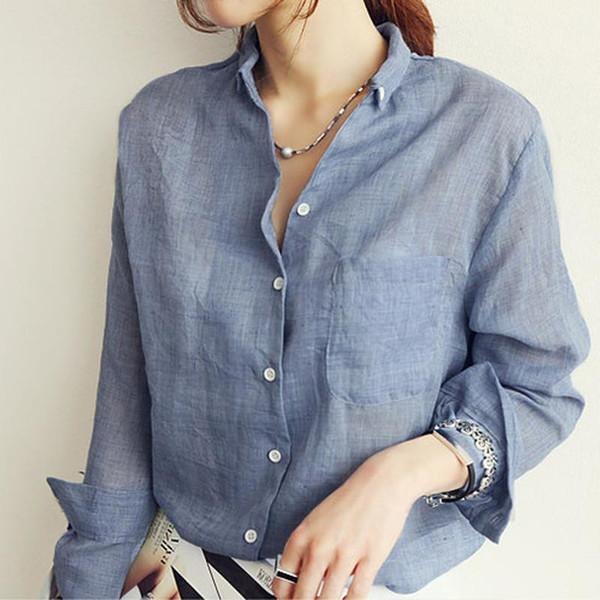 Womens Tops Fashion Linen White Shirt Women Long Sleeve Blouse OL Office Blouse Pocket Woman Clothes Roupas