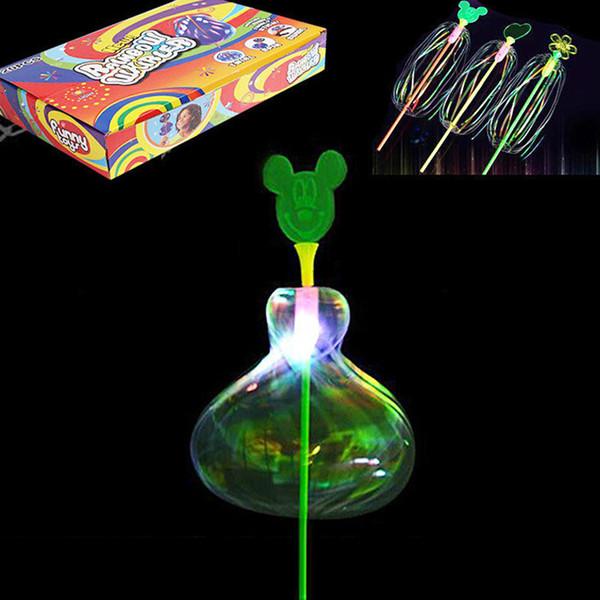 20 adet Paketi Yanıp Sönen LED Gökkuşağı Whirler Oyuncaklar Kabarcık Çiçek Glow Stick Oyuncak Çocuklar Için Light Up Oyuncak Sihirli Değnek parti
