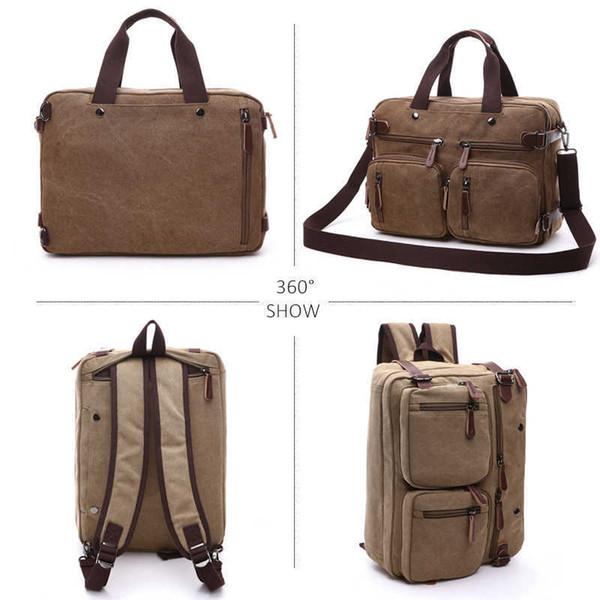 2019 Men Canvas Bag Leather Briefcase Travel Suitcase Messenger Shoulder Tote Back Handbag Large Casual Business Laptop Pocket Y190627