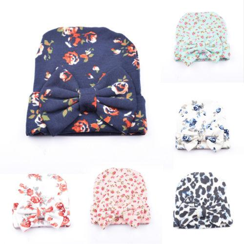 Hot Sale Newborn Baby Infant Girl Toddler Soft Floral Bowknot Hospital Cap Beanie Hat