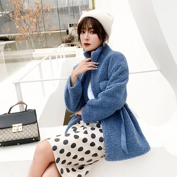 Frauen Woolen reine Farbe Wollmäntel 2019 Herbst Winter Langarm Casual Outwear Jacken Mantel