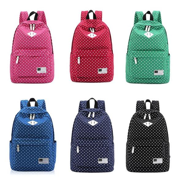 Polka Dot School Shoulder Canvas Backpack Bag Travel Rucksack Large Capcity Student Daypack Satchel