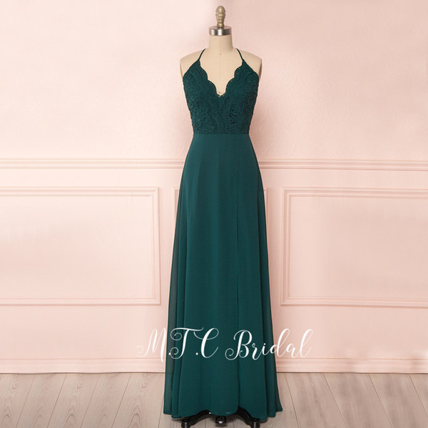 Charming Dark Green Long Dress Evening Lace Top A Line Spaghetti Strap V Neck Simple Prom Gowns 2019 Hot Selling Women Dresses