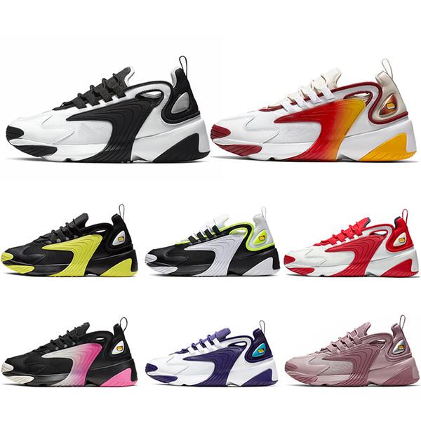 Großhandel Nike Zoom 2K Rabatt Dreifach Schwarz M2k Tekno Zoom 2K Laufschuhe Herren Damen Weiß Königsblau Rot Herren Turnschuhe Designer Trainer Sport