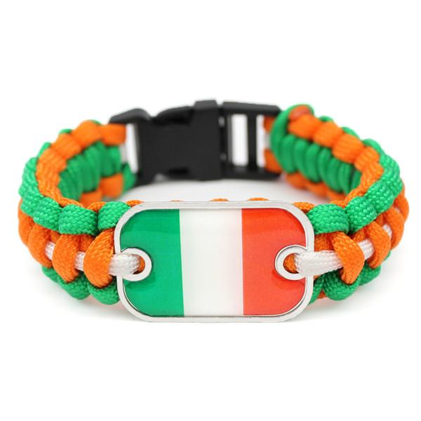 Handmade Boho Glass Rectangle Ireland National Flag Survival Paracord Wrap Bracelets Women Men Orange Green White Umbrella Rope Cuff Jewelry