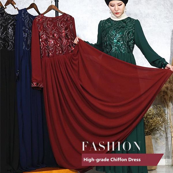De alto grado 3D bordado de doble capa de gasa vestido de las mujeres con lentejuelas musulmán vestido elegante rebordear largo Dubai Abaya plisado