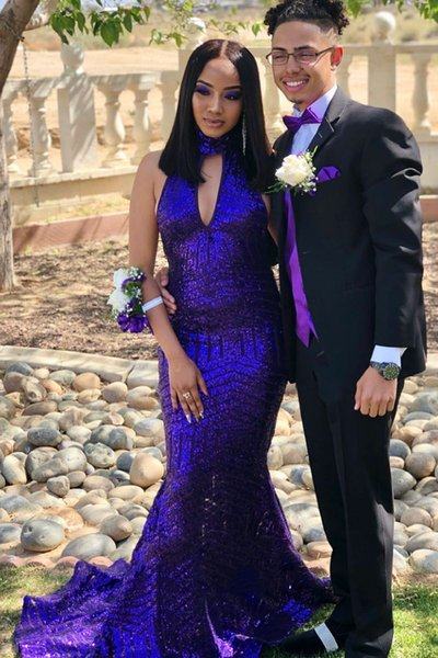 Sexy Halter Strapless royal blue Mermaid Prom Dresses 2019 New Arrival Sparkly Sequined Long Formal Evening Gowns Cheap Vintage Party Wear