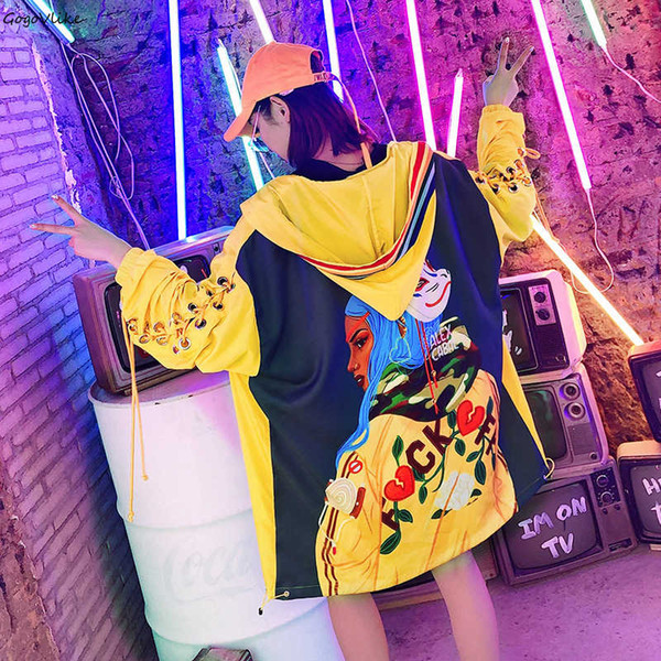 Trench coat con ricamo para mulheres 2019 Spring Letter Letter Pocket Loose Harajuku Yellow Hooded Windbreaker LT409S50