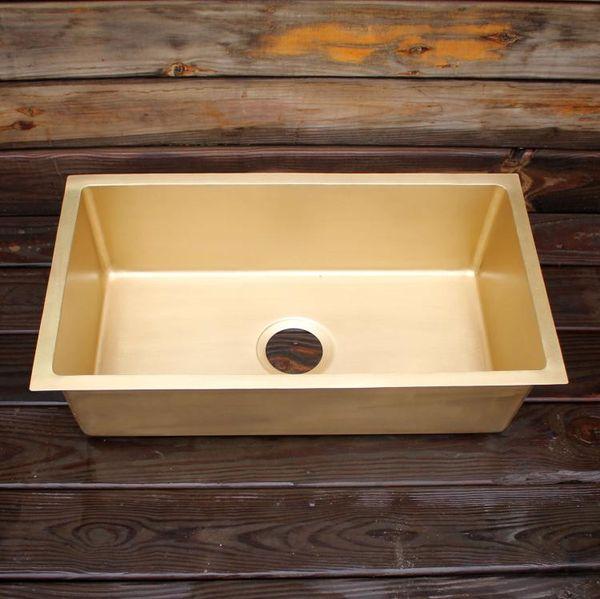 top popular Smooth surface brass kitchen sink Undermount sinksingle bowl brass kitchen sink 2021