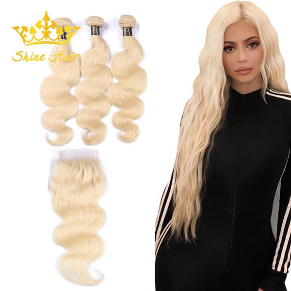 Glanz-Haar-brasilianisches blondes Körper-Wellen-Menschenhaar spinnt 3 Bündel mit Haar-Bündel-Einschlagfaden des Schließungs-Inder-613 der Spitze-4x4