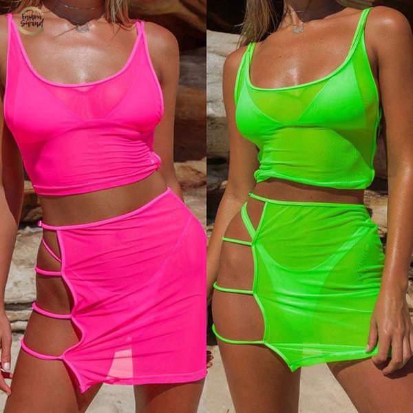 Vert néon rose chaud transparent Mesh ensembles deux pièces Casual Tenues de plage Femmes Sexy creux Out Jupe moulante Mini + culture Tops
