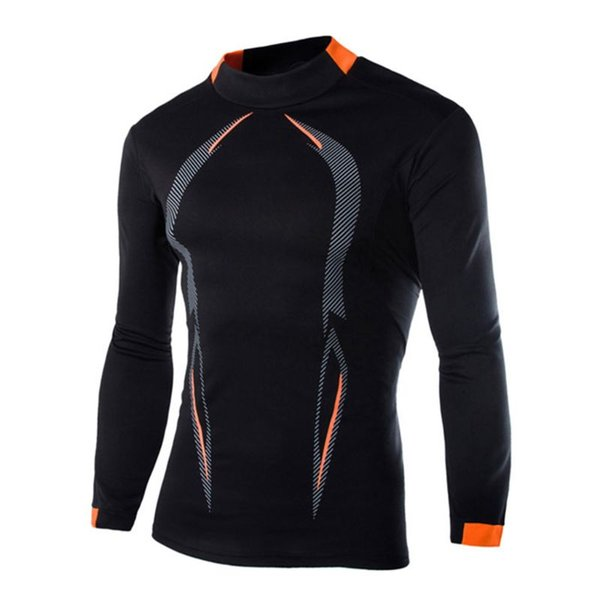 Mens Plus Size Long Sleeve Athletic Compression T-Shirt Sport Running Baselayer Quick Dry Under Tops Geometric Print D25_D
