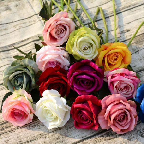 Künstliche Blumen Rose Real Touch Blume Pfingstrose Dekorative Blumen Hochzeit Bouquet Home Party Supplies 14 Farben Großhandel YW3735