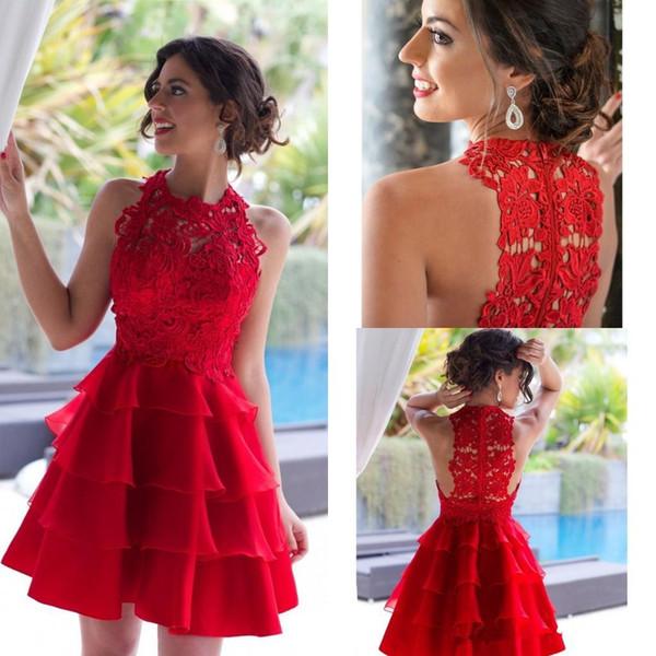 Red Organza Mini Vestidos de Fiesta Cortos 2018 Sexy Ilusión Joya Apliques Encajes Vestidos de Fiesta de Cóctel Hasta la Rodilla Simple Vestido de Fiesta