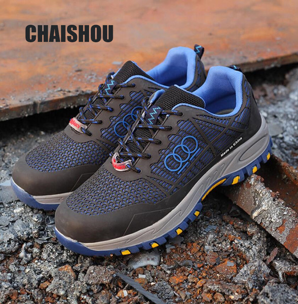 Shoes Men Sneakers Work Boots Big Size 36-47 Unisex Safety Steel Toe Boots Men Outdoor Work Shoes Air Mesh Safety Boots CS-106