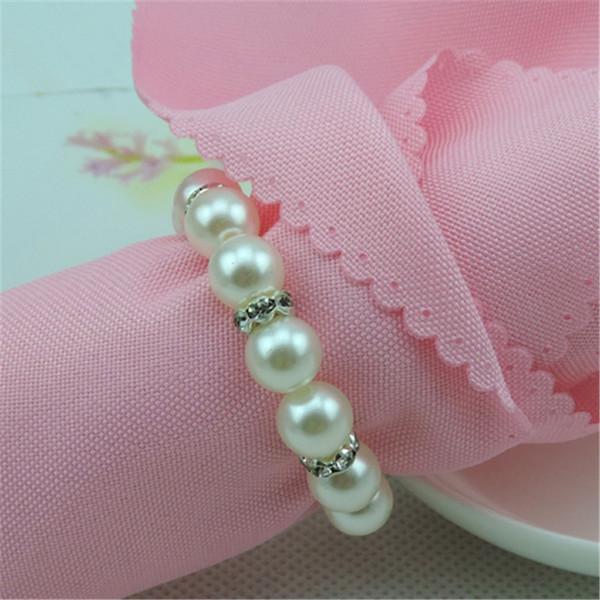 New White Pearls Tovagliolo Anelli Tovagliolo di nozze Fibbia Per ricevimento di nozze Decorazioni da tavola per feste Forniture Spedizione gratuita