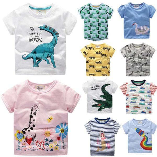 best selling More 100 styles NEW summer Girl Boys Kids 100% Cotton Short Sleeve car print T shirt boys causal summer Girl Unicorn t shirt Free Ship