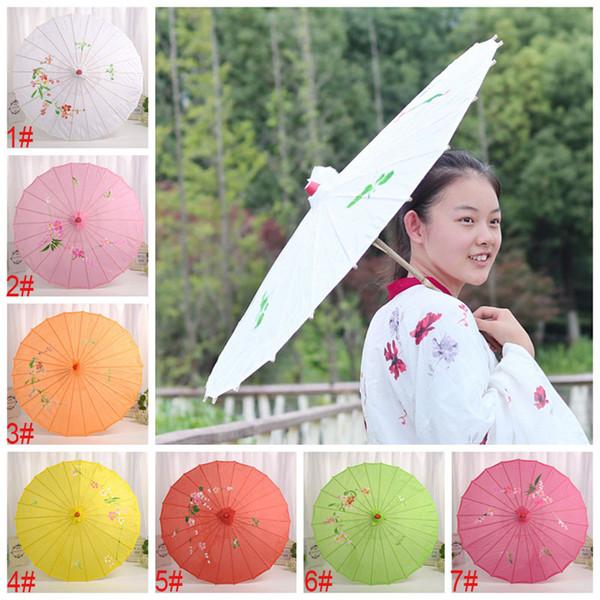 54 cm cinese ombrello di seta danza prop matrimonio decorativo ombrello di colore solido donne parasole stampa ombrello di seta pioggia gear bh2029 tqq