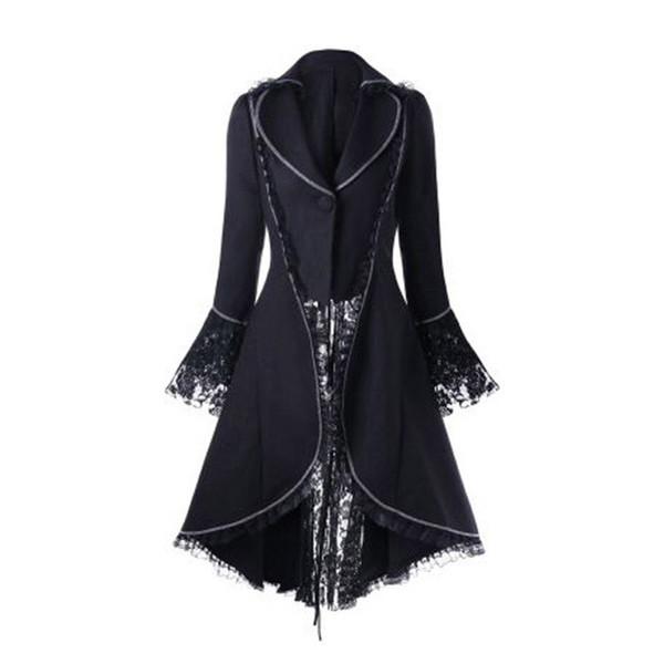 Frauen Gothic Overcoat schnüren sich oben Verband Band-Bogen schnüren sich oben Winter-Beflockung Langarm Halloween schwarz Vintage Gothic lange
