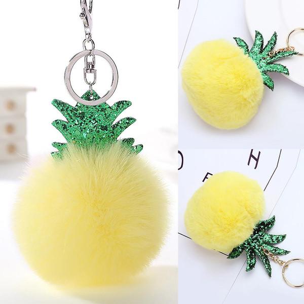 Fashion New Cute Faux Fur Sequined Pineapple Pandent Keychain Key Ring w/ Hook Key Bag Decor New Fashion Faux Fur Keychain