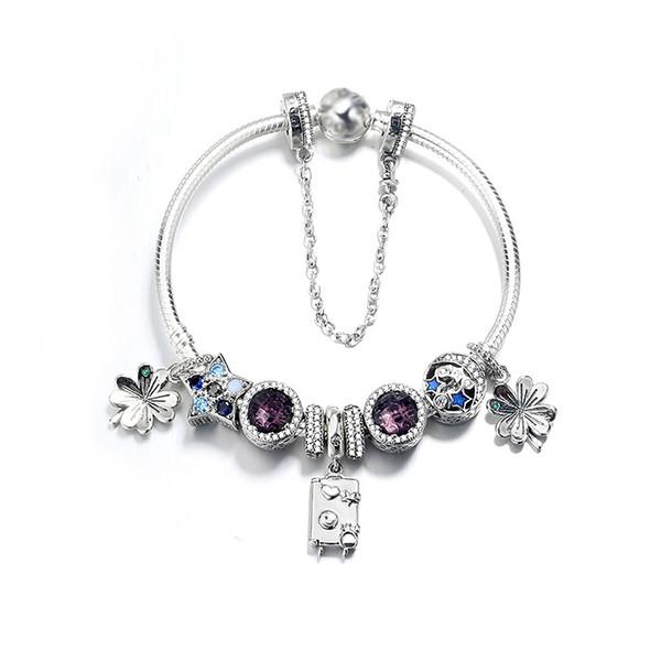 Authentique Argent 925 Nouveau Valise, Seaheart de Fourleaf Clover, Bracelet Oeil de Chat Diy Bijoux Bracelet Diy