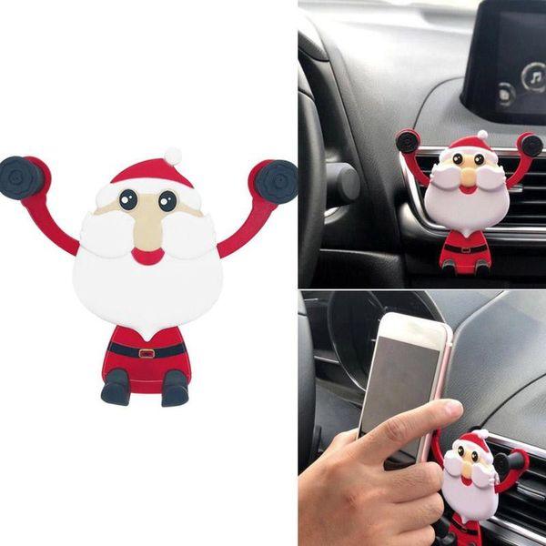 Universal 360 degrés Rotating Père Noël Car Phone Holder GPS Mont Air Vent Support de téléphone portable Stand Holder cadeau de Noël