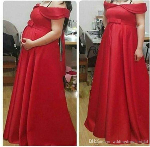Pregnant Evening Dresses 2019 Sexy Off Shoulders Prom Dresses Bow Empire Floor Length Formal Dresses Wear Cheap Long Evening Dress