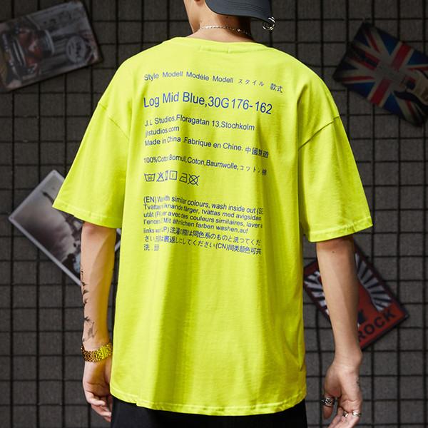 Basit Mektup Baskı ile kısa Kollu Gevşek T-shirt erkek tasarımcısı t shirt