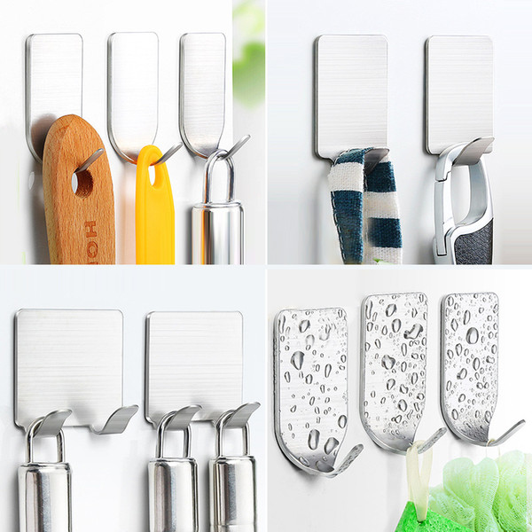 Key Hooks Towel Holder Racks Robe Hanging Wall Mount Storage Hooks for Kitchen Bathroom Self-Adhesive Wall Hanger Dropshipping