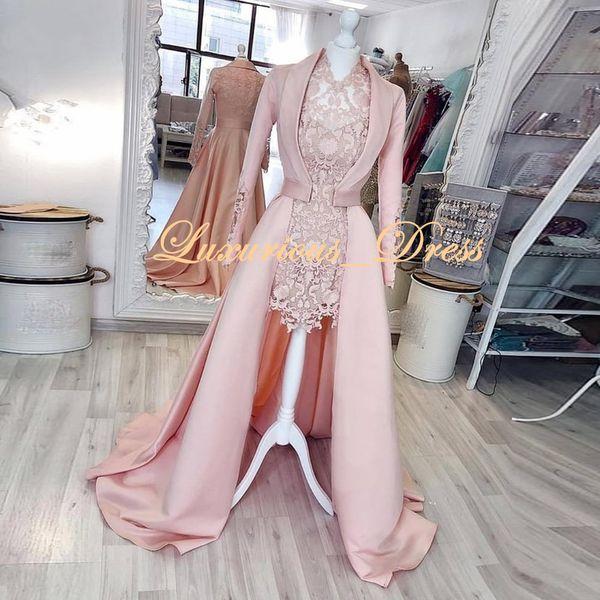 2019 Jahrgang 2 Stück Rosa High Low arabische Abendkleider reizvolle Spitze-Abschlussball-Kleider Mode-Partei-Kleid Kleider für besondere Anlässe robe de Soiree
