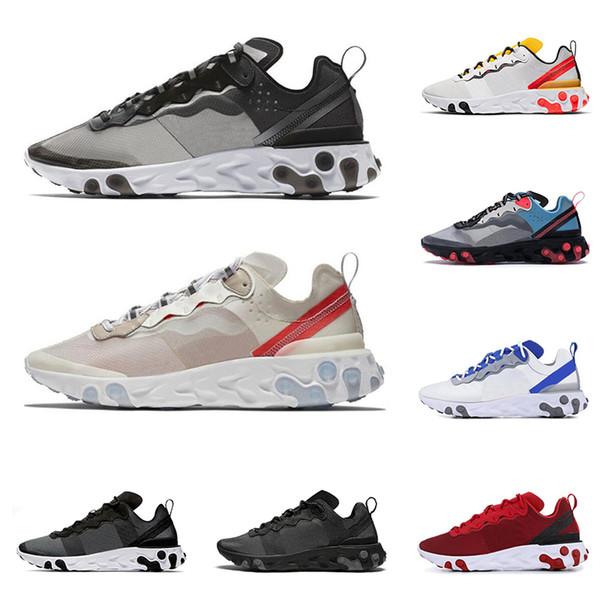 best selling 2020 react element 87 55 running shoes for men women Light Bone triple black royal Solar Team red mens trainers sports sneaker runner