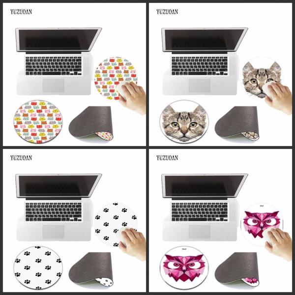 Yuzuoan Big Promotion 200 * 200 * 2mm Cute Animals Cats Art Print Mouse Pad Alfombrilla redonda antideslizante Mousepad de velocidad de juego Alfombrillas de ratones