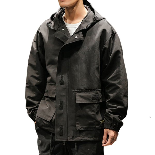 2019 Veste Automne Printemps hommes déliés à capuche Homme Manteaux et vestes Outwear cargo Streetwear Veste coupe-vent 4XL 5XL