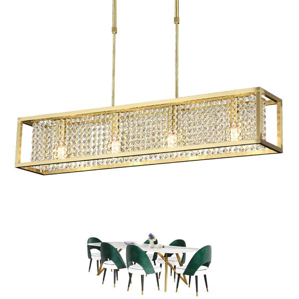Rangcy Rectangle Dining Chandelier Lighting Luxury Modern Crystal Light Kitchen Island Hanglamp LED Cristal Lustres Lámpara colgante de oro