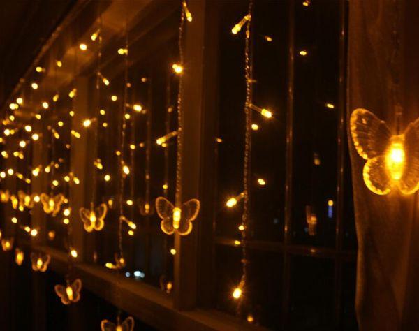 4M*0.6M 100 LED Fairy Butterfly Curtain Lights Gerlyanda Decorative LED Christmas Lights For Wedding Birthday Party Decoration AC 110v-250v