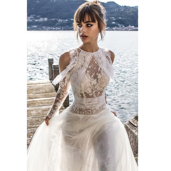 Discount 2019 Vintage A Line Boho Bohemian Beach Wedding Dresses Bridal Gowns Long Sleeve Wedding Dress Vestidos Novia Designer Wedding Gowns Wedding