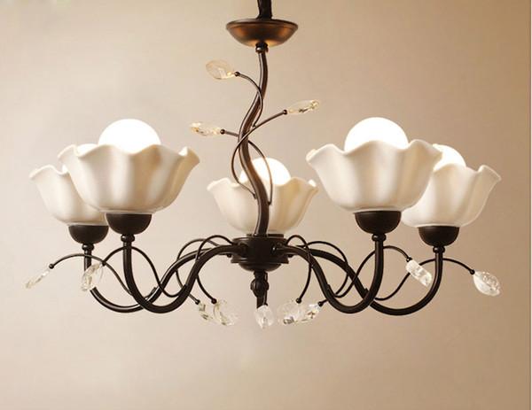 Chinese style white ceramic 3/5/8 flower Chandelier Lustre Led lamp Chandeliers Home Lighting Living Room Flower Suspension F085