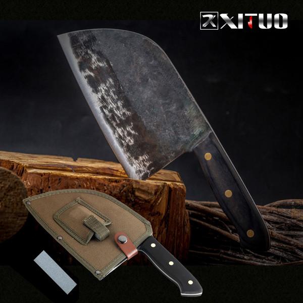 Lleno de la espiga del cuchillo del cocinero forjado hecho a mano Alto contenido de carbono de acero revestido de cuchillos de cocina Cleaver Fileteado rebanar Amplio cuchillo de carnicero