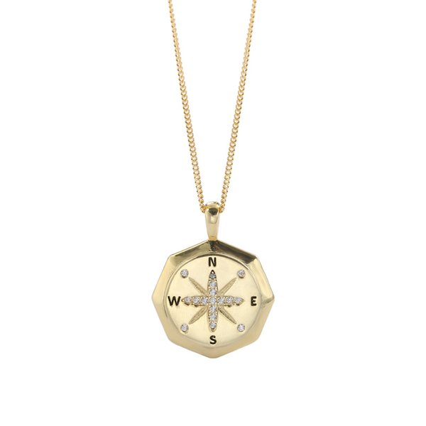 Woman's s925 sterling silver zircon necklace with compass pendant