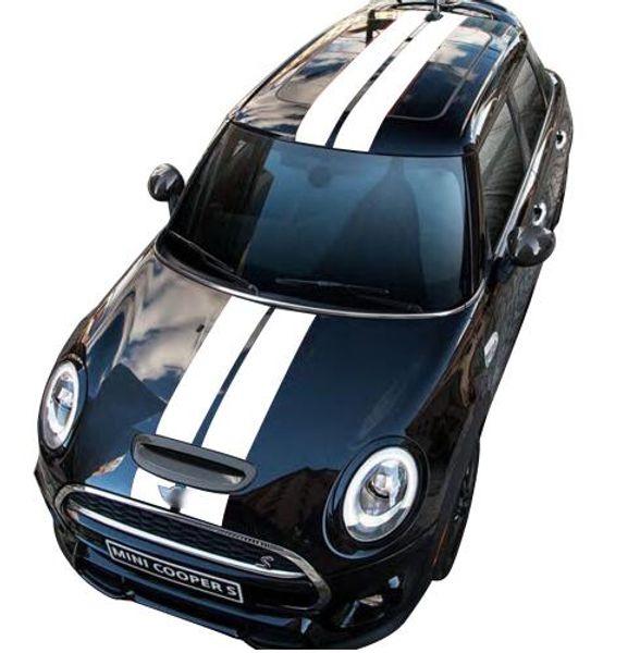 Araba Styling Çift Ralli Yarış Bonnet Boot Arka Çatı Stripes Decal Sticker Vinil Mini Cooper R56 R50 R53 için F55 F56 F60 R60 R55
