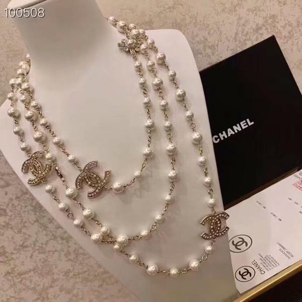 Marca de luxo designer de diamantes longo colar de pérolas naturais colar importado colar de cristal 18 K broche de ouro jóias