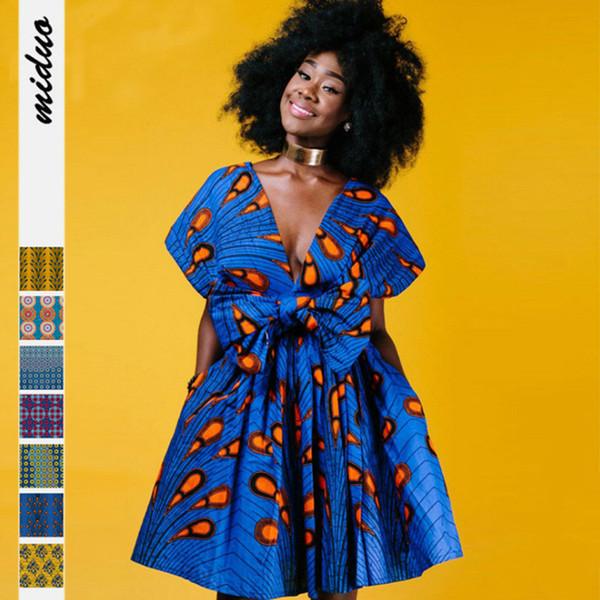 2019 summer dresses African clothing element printed multi-wear straps pleated nightclub mid-skirt V-neck dress big swing skirt women wear