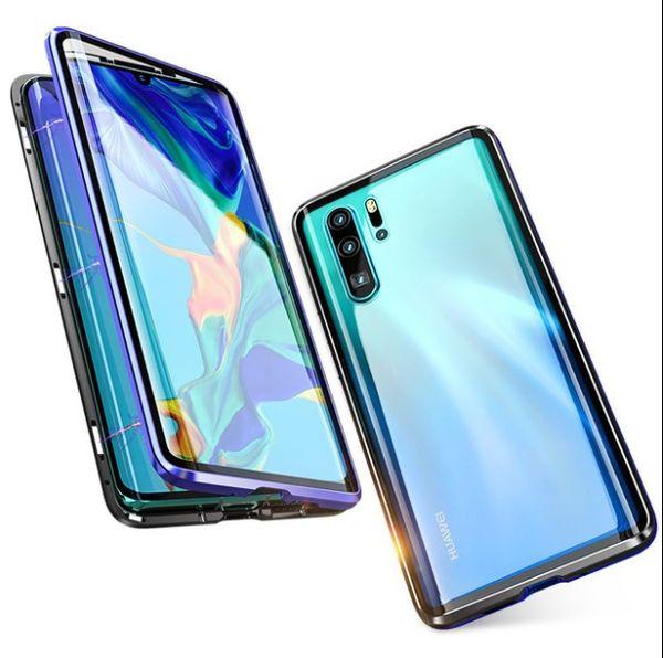 Date Coque en verre trempé double face incurvée pour Huawei p30pro Couverture complète de protection magnétique pour téléphone