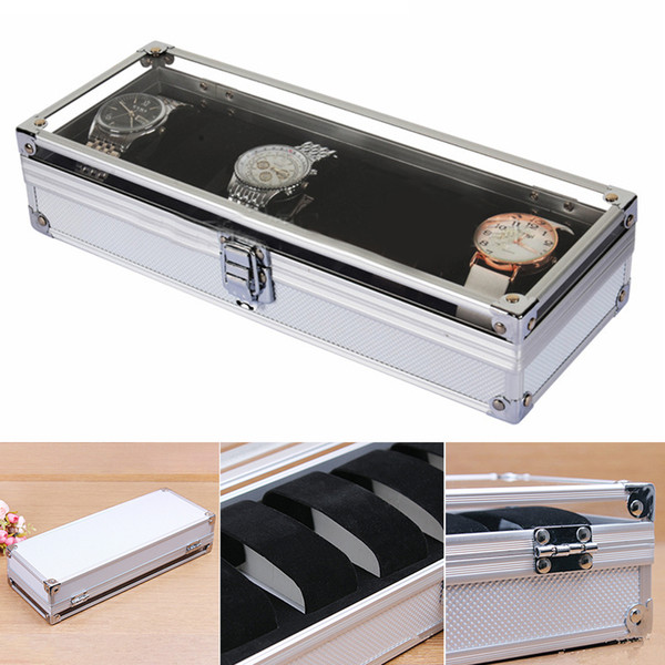6 Grid Aluminium Watch Box Display Case Jewelry Collection Storage Organizer Wristwatch Holder