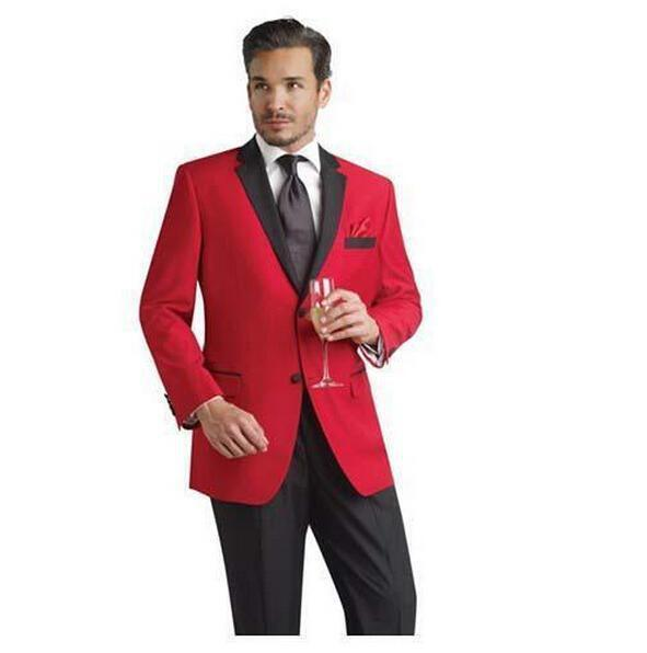 Red New Design Stylish Suits Men Groom Wedding Tuxedos 2 Pieces (Suit jacket+pants) Party Prom Formal Men Tuxedos