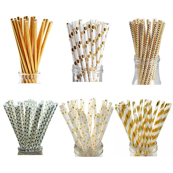 25PCS Environmental Protection Foil Gold Drinking Paper Straws Cake Flags For Birthday Wedding Decorative Party Event Supplies
