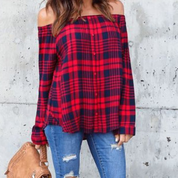 New 2019 Women's Fashion Plaid Shirts Long Sleeve Slash Blouses Women Cotton Plus Size Casual Off Shoulder Shirt Style Blusas